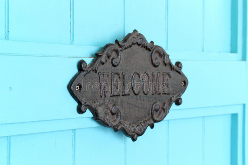 Vintage welcome sign stock photography