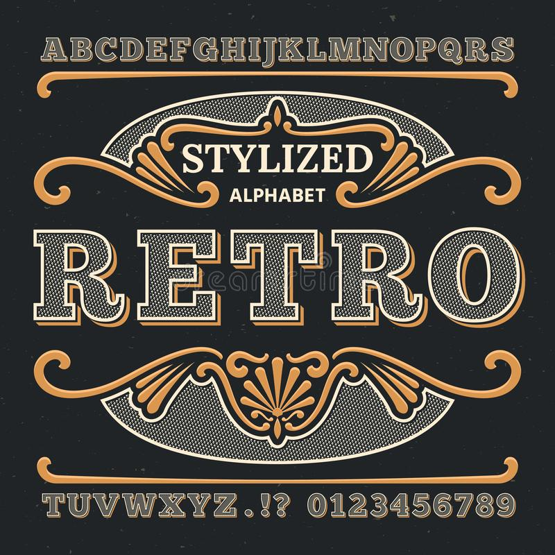 Vintage western 3d typography. Gothic retro vector type. Retro numbers and letters stock illustration
