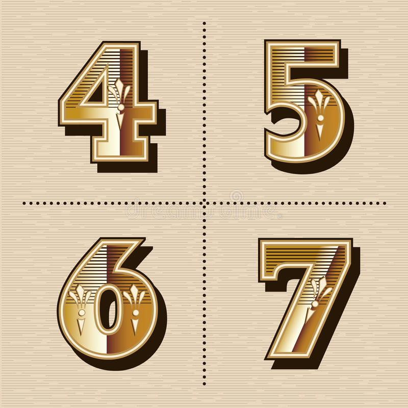 Vintage western numbers alphabet letters font design vector illustration (4, 5, 6, 7). Vintage western numbers alphabet letters font design vector illustration 4 royalty free illustration