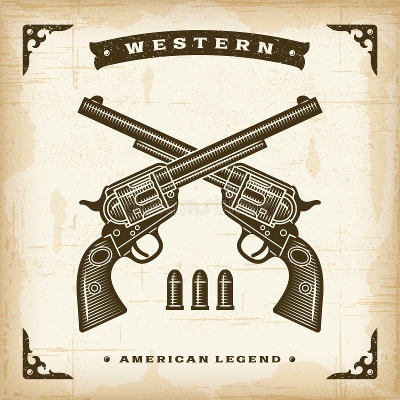 Vintage Western Revolvers. In woodcut style. Editable EPS10 vector illustration vector illustration