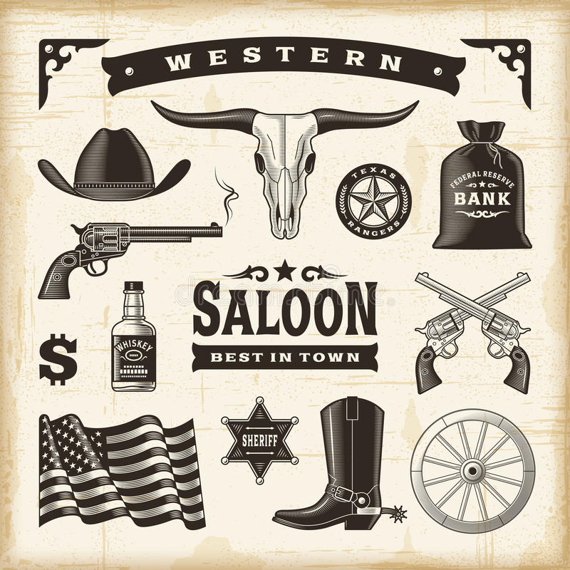 Free Vintage Western Set Stock Photography - 54560862