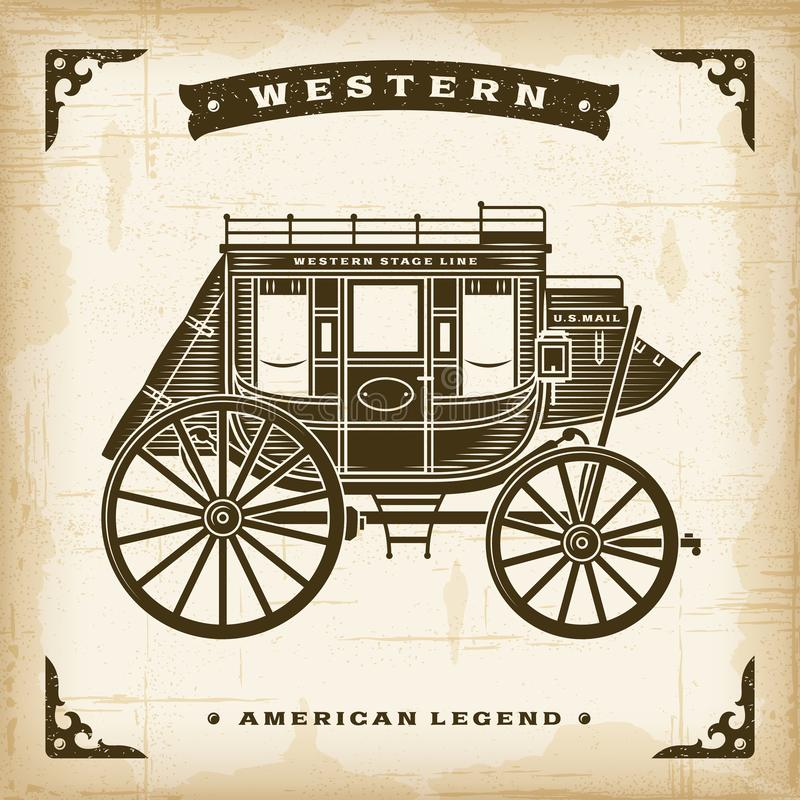 Vintage Western Stagecoach. In woodcut style. Editable EPS10 vector illustration stock illustration
