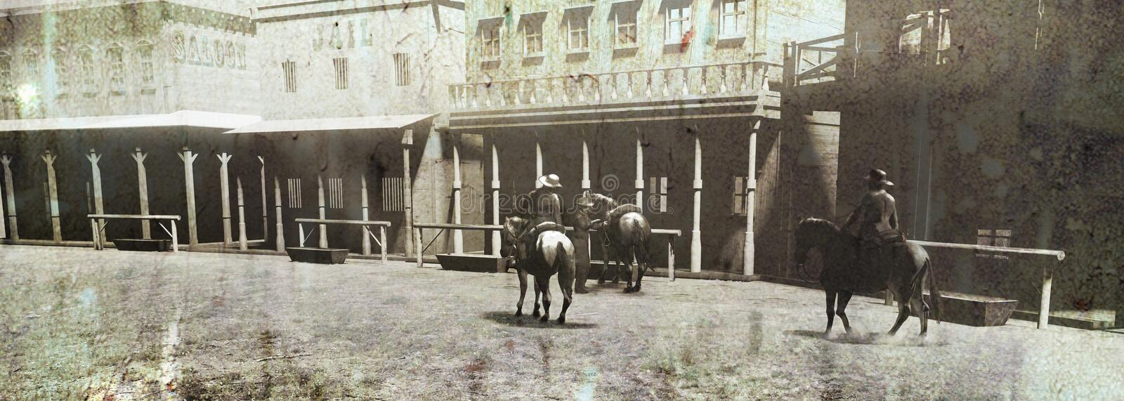 Vintage Western Street and Riders. Grunge view of an old western street under the sun, with several riders , close to saloon and jail vector illustration