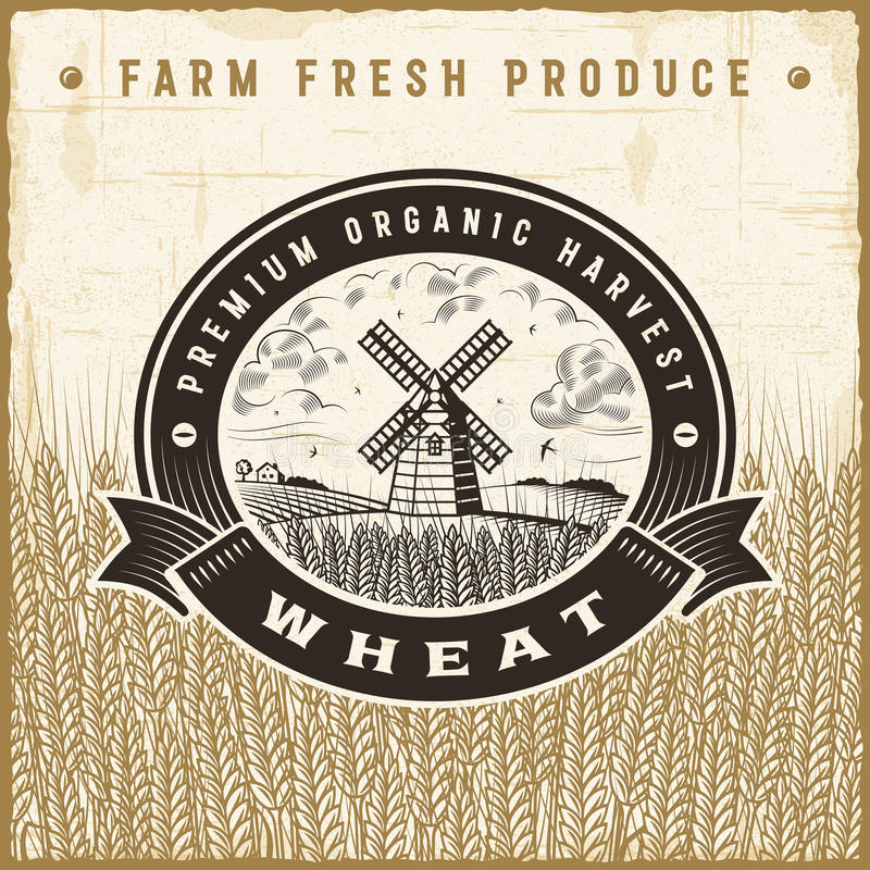 Vintage wheat harvest label. With landscape in woodcut style. Editable EPS10 vector illustration with clipping mask and transparency vector illustration