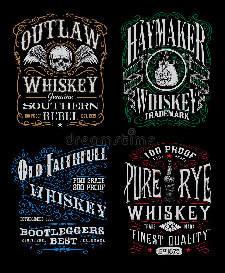Vintage Whiskey Label T Shirt Graphic Set Stock Vector