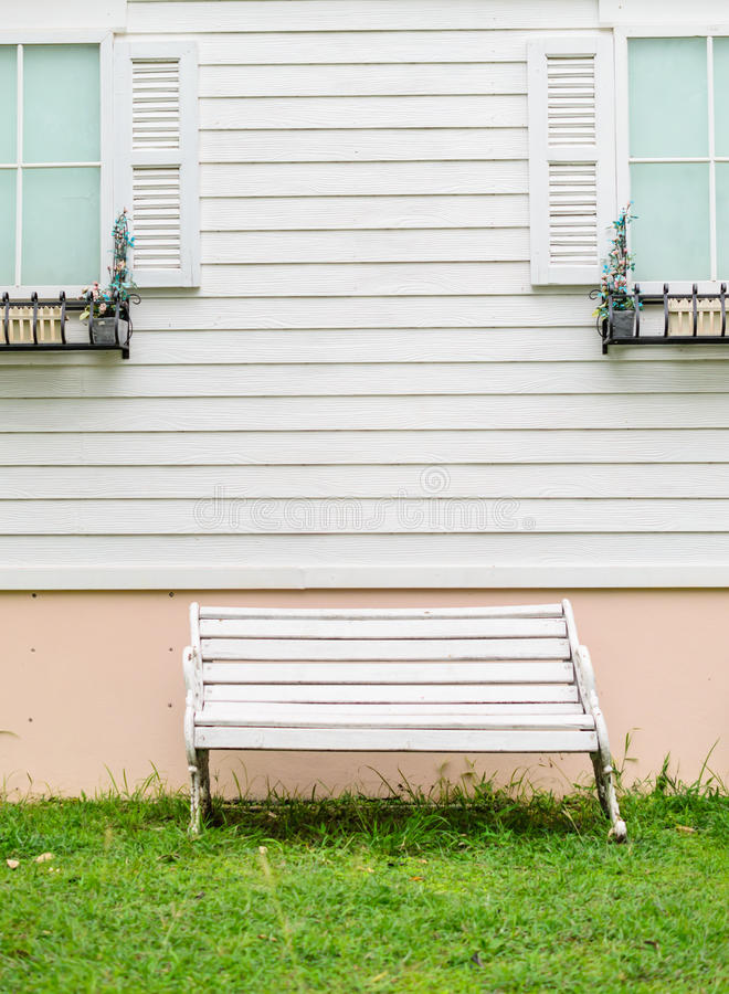 Vintage white bench stock images