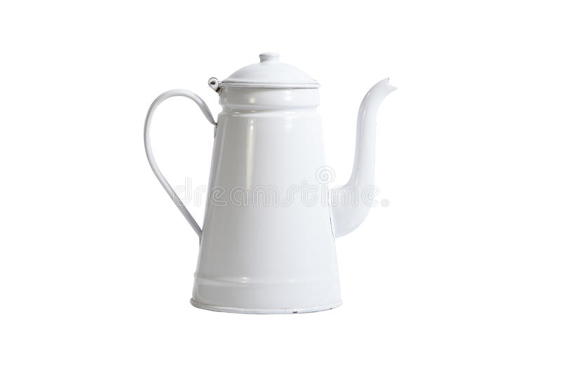 Download Vintage White Coffee Pot Isolated Stock Photo - Image: 42313014