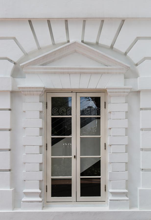 Vintage white color window facade details royalty free stock photo