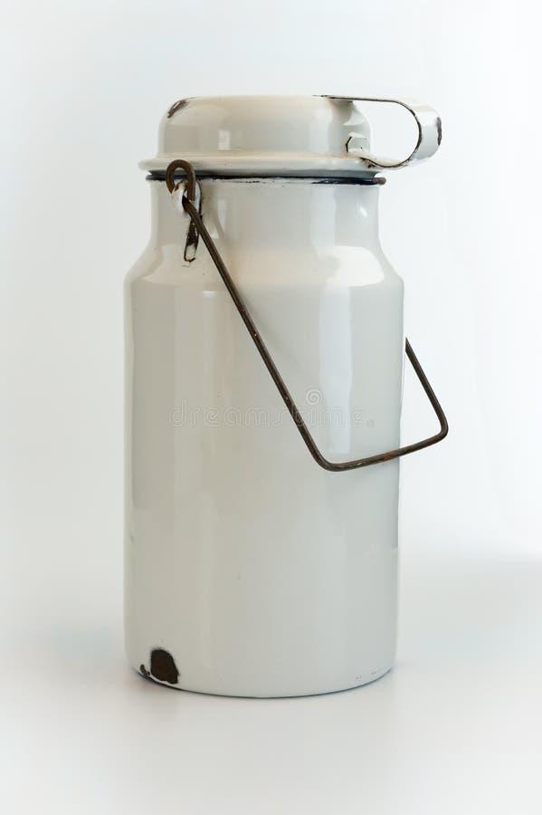 Vintage White Enamel Pail. Vintage French White Enamel Pail - Milk Pail - Vintage Home Decor - Enamelware stock photos
