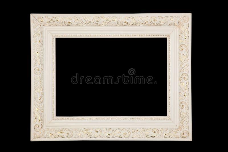 Vintage White Frame On Black Background Stock Photo - Image of ...