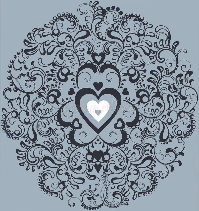 Vintage White Heart In Ornamental Flourish Circle Stock Photo