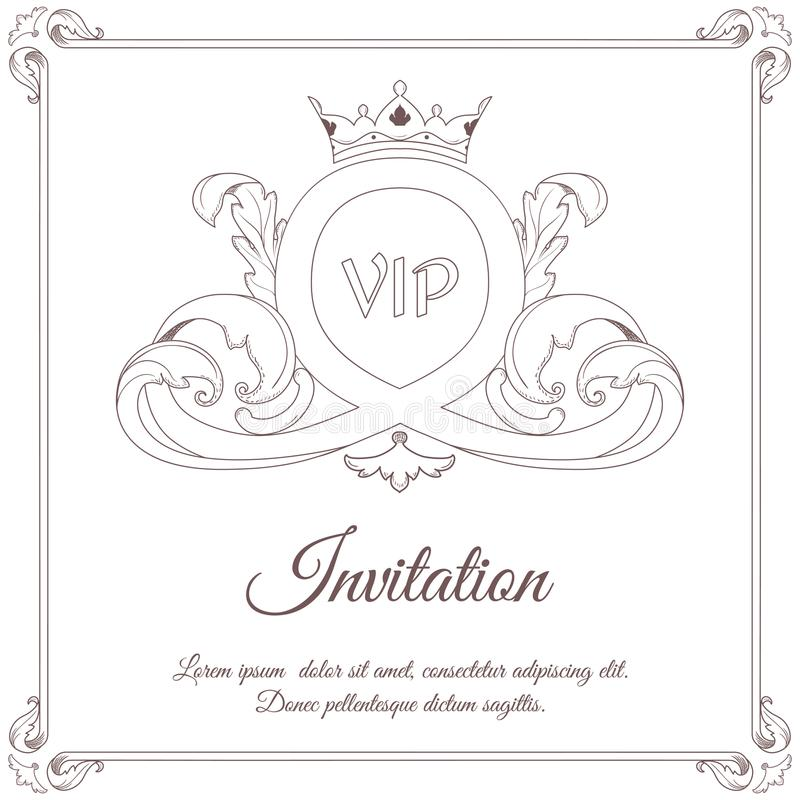 Vintage white invitation card, in the center leafy ornament in Victorian style. For design and printing. stock illustration