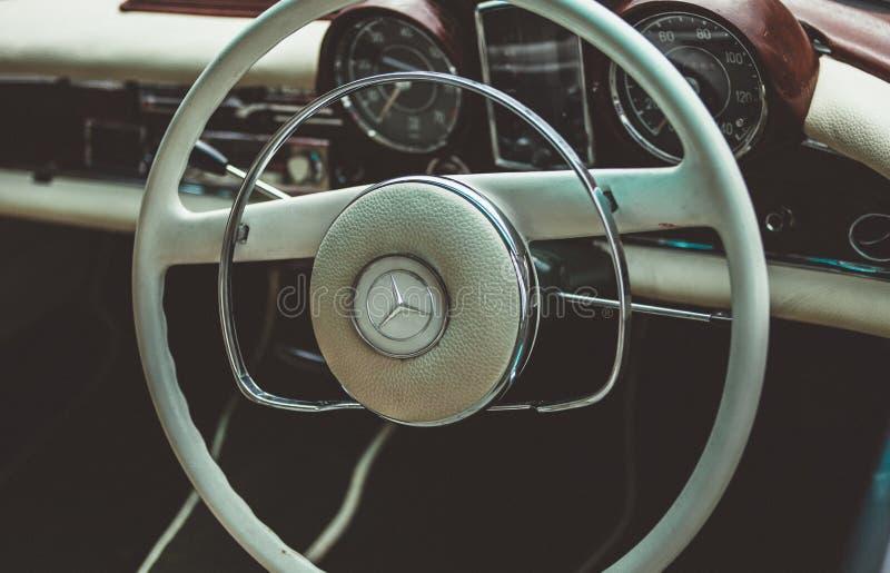 Vintage White Mercedes Steering Wheel Free Public Domain Cc0 Image