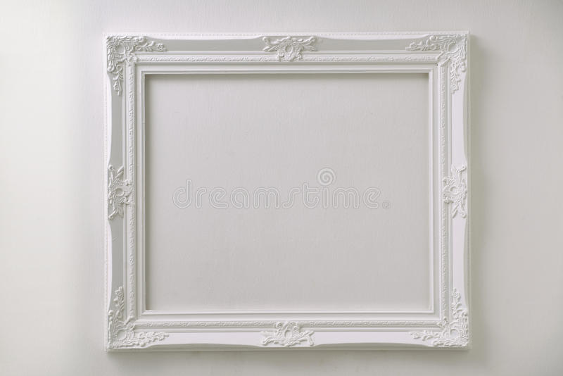 Vintage white photo frame stock photos