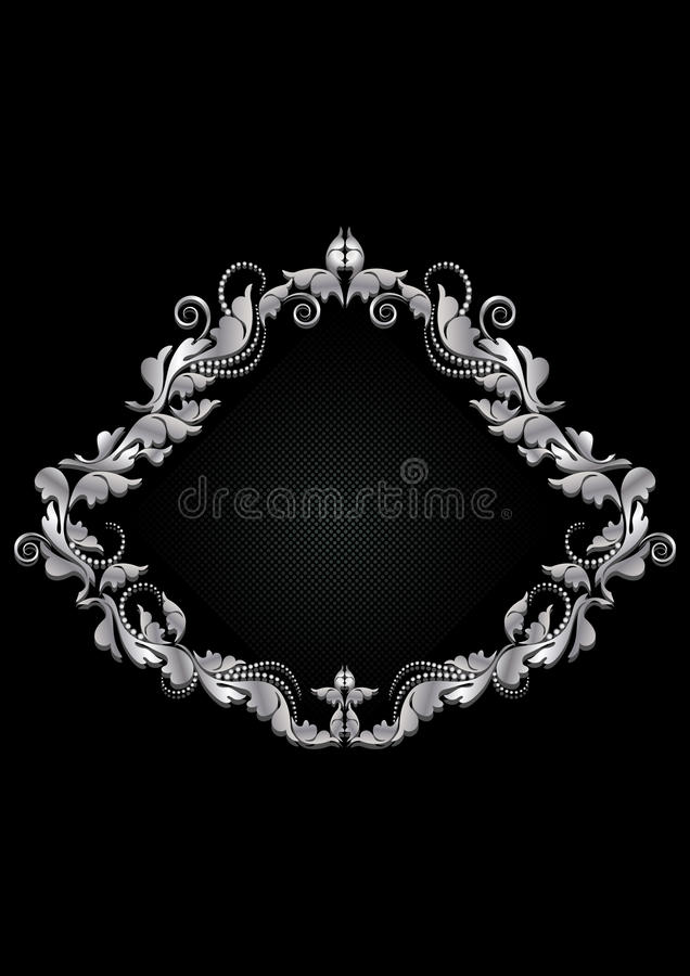 Vintage white silver frame with floral pattern with beads on black background vector illustration