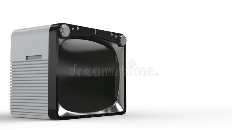Vintage white TV set with black front. Isolated on white background vector illustration