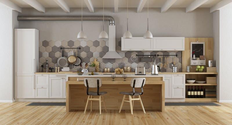 White vintage kitchen with island. Vintage white and wooden kitchen with island and chairs - 3d rendering royalty free illustration