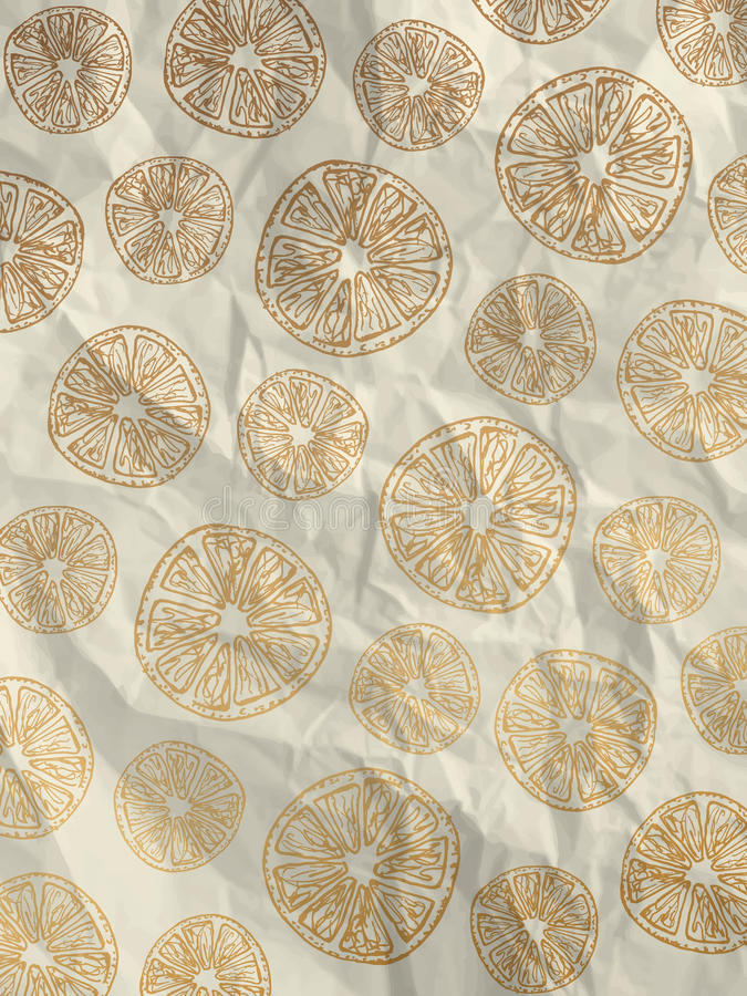Vintage white wrapping paper with orange slices royalty free stock photography