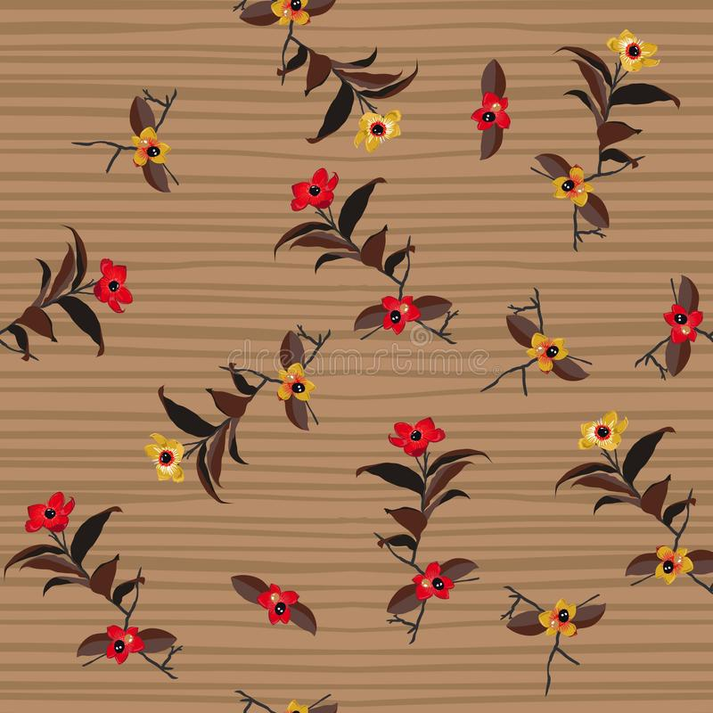 Vintage Wild Flower on hand drawing stripes seamless pattern vector for fashion fabric,wallpaper and all prints royalty free illustration
