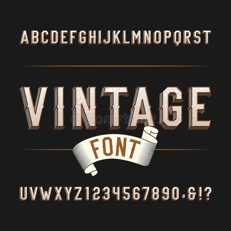 Vintage wild west alphabet font. Distressed effect letters and numbers on a dark background. vector illustration