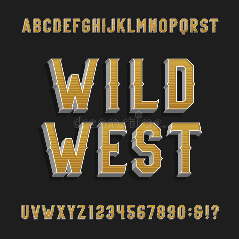 Vintage wild west alphabet vector font. 3D effect letters and numbers. royalty free illustration