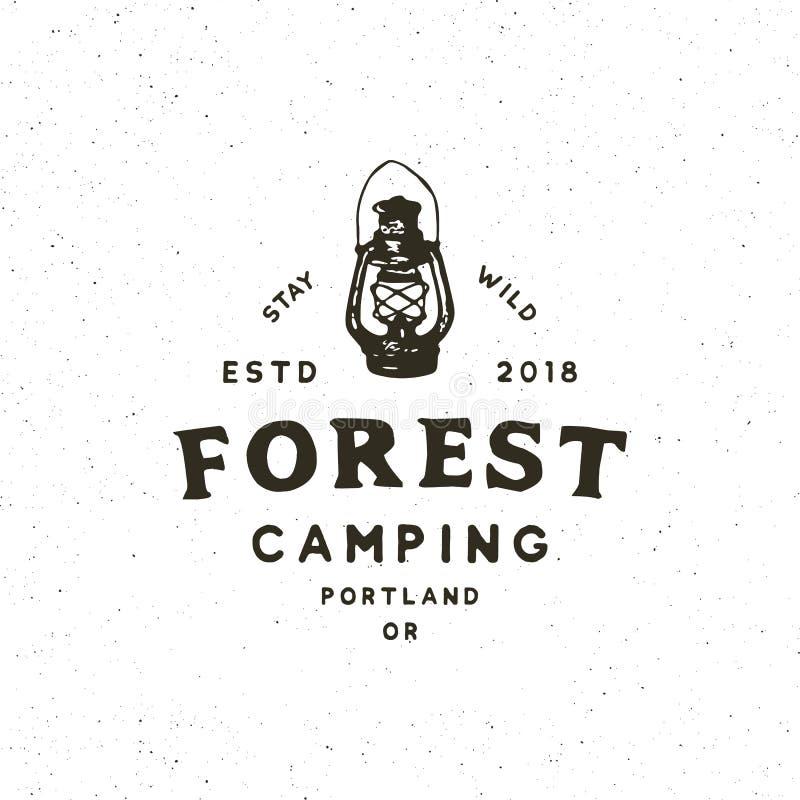 Vintage wilderness logo. hand drawn retro styled outdoor adventure emblem. vector illustration stock illustration