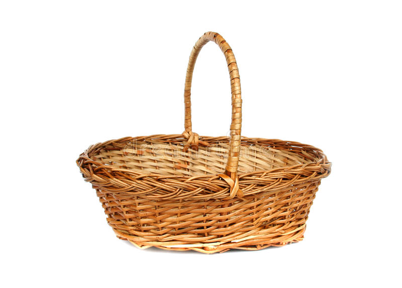 Vintage willow basket. For fruits royalty free stock photos