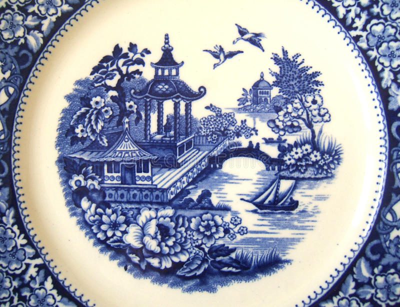 Vintage Willow Pattern Background. Decorative background showing detail of vintage blue and white willow pattern stock photography
