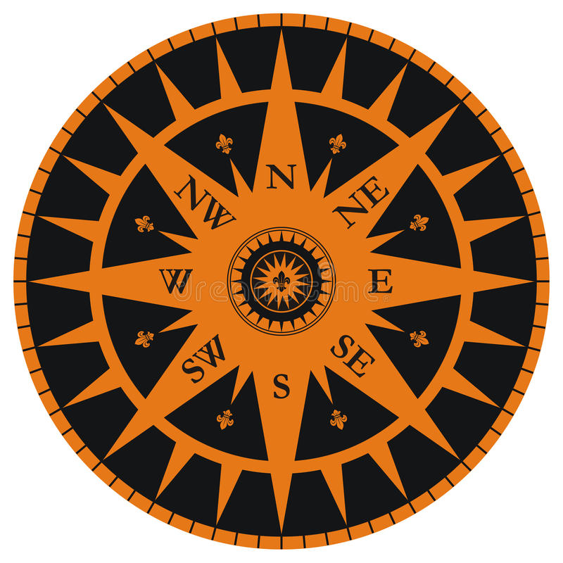 Vintage wind rose with fleur-de-lis royalty free stock photography