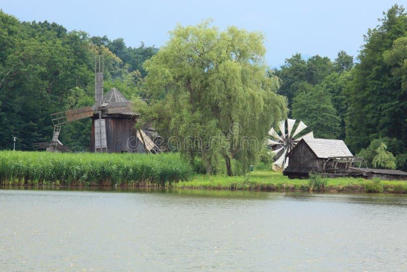 Vintage windmills stock photo