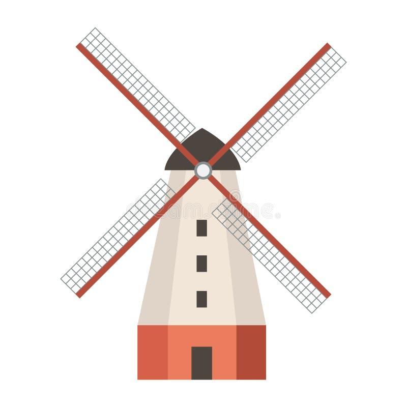 Vintage windmolen stock illustratie