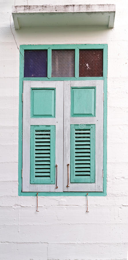 Vintage window. On white wall stock images