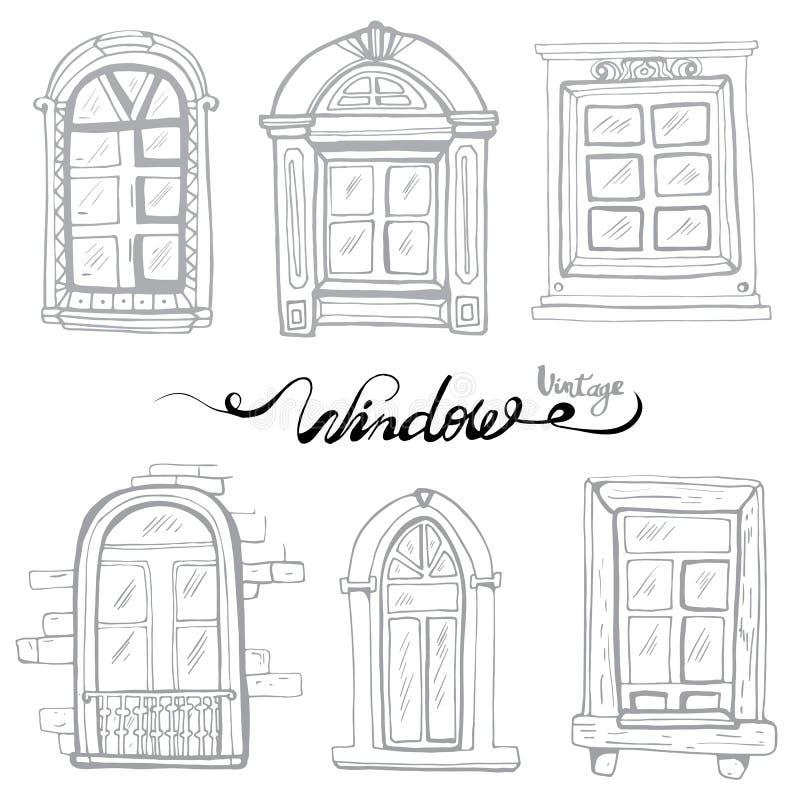 Vintage Window set vector illustration