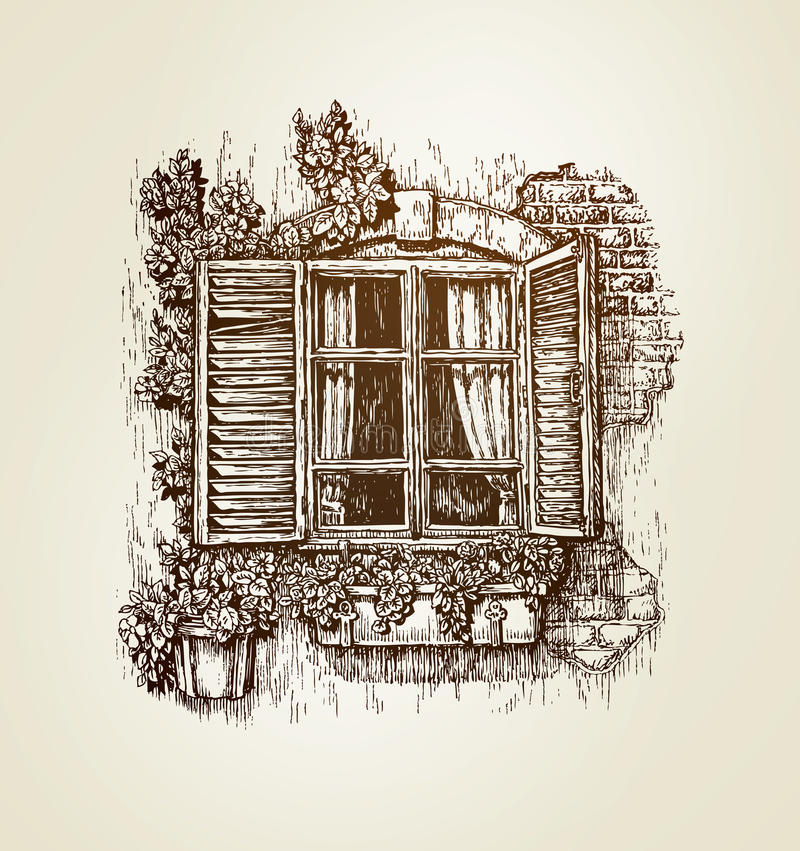 Vintage window sketch vector illustration stock vector for Window design sketch