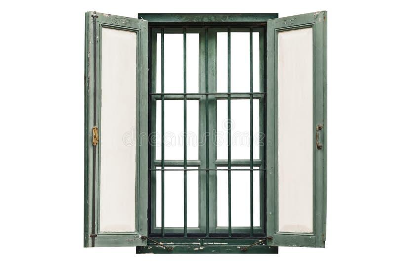 Vintage window on white stock images