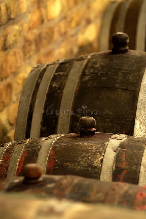 Vintage wine barrel in cellar stock image