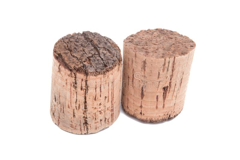 Vintage wine cork isolated. On the white background royalty free stock photos