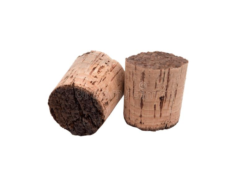 Vintage wine cork isolated. On the white background stock photography