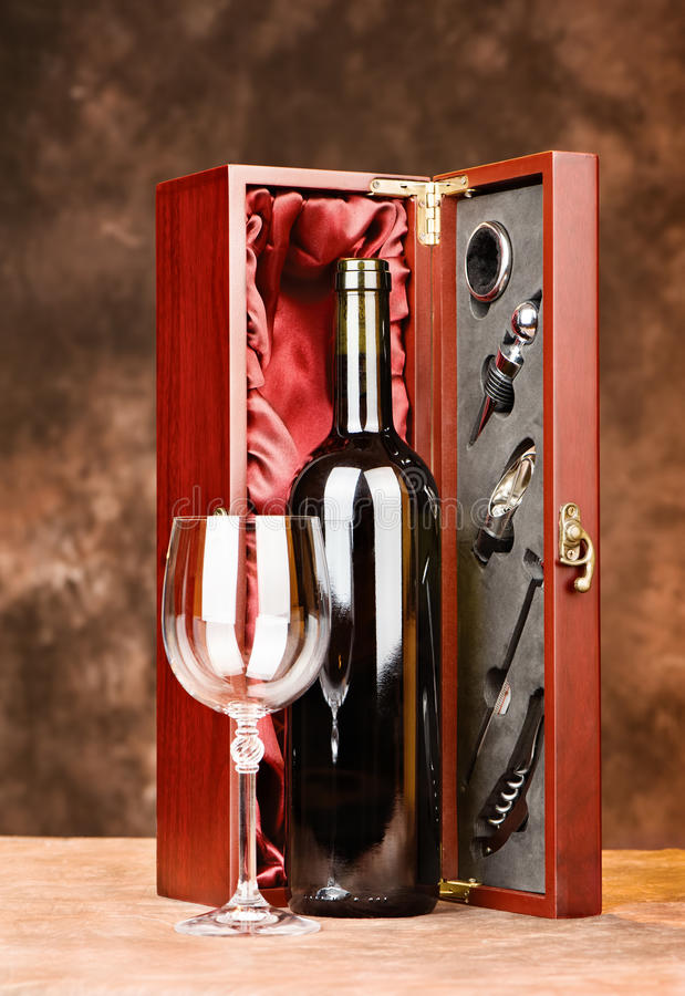 Vintage wine with glasses and case stock photo