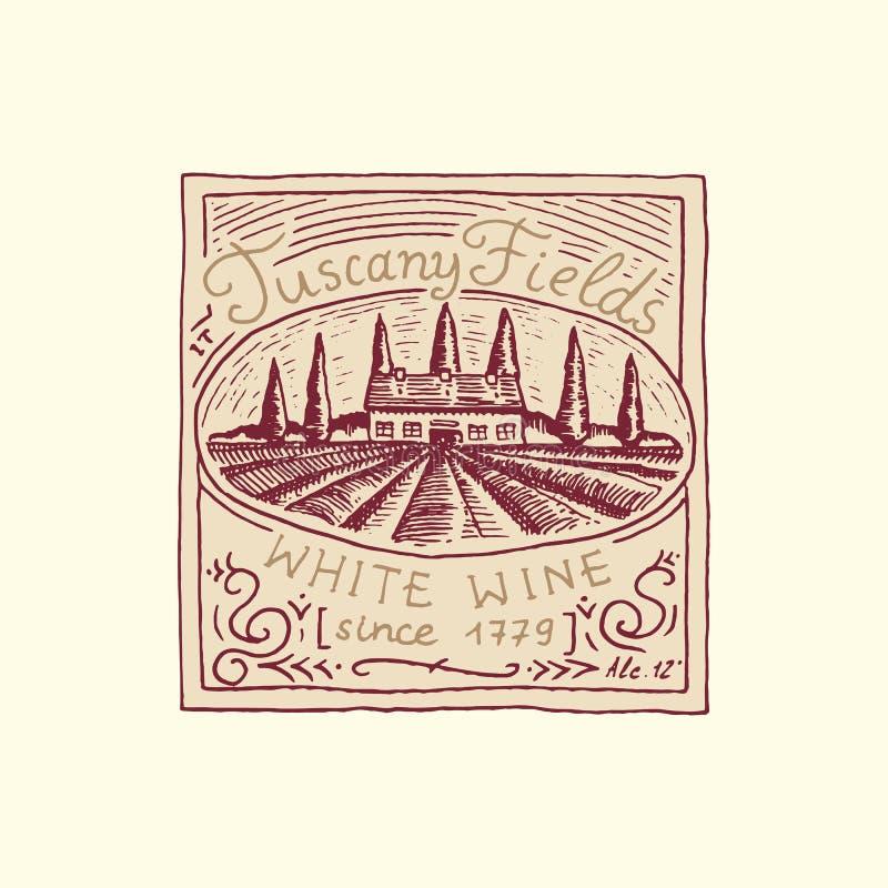 Vintage wine label badge with vineyard. Alcohol logo with calligraphic element. Frame for poster banner. Emblem sticker. Hand drawn engraved lettering for t vector illustration