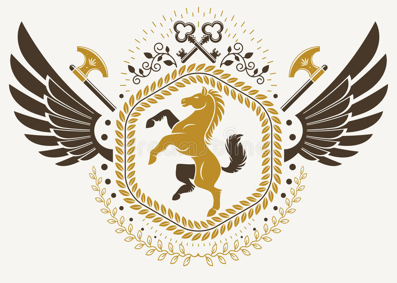 Vintage winged emblem created in vector heraldic design and comp. Osed using horse illustration and security keys vector illustration