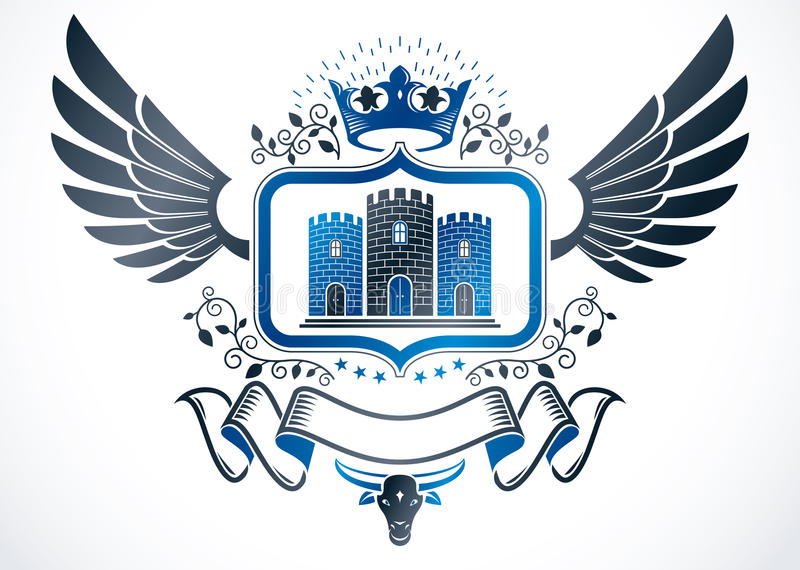 Vintage winged emblem created in vector heraldic design and comp. Osed using imperial crown and medieval castle royalty free illustration
