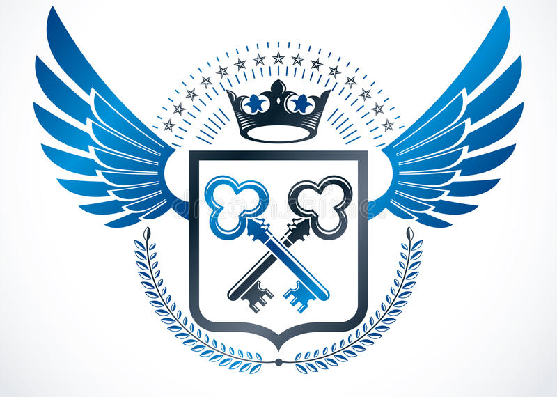 Vintage winged emblem created in vector heraldic design and comp. Osed using security keys, laurel wreath and royal crown vector illustration
