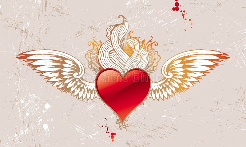 Download Vintage winged heart stock vector. Image of heart, draw - 7896899