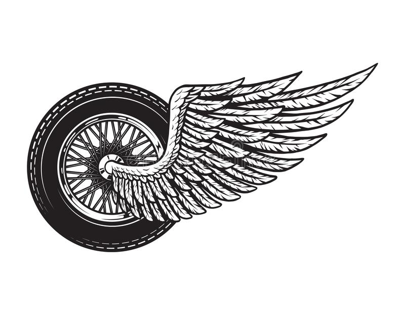 Vintage winged motorcycle wheel concept royalty free illustration