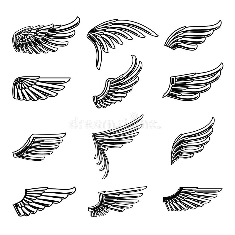 Vintage wings icon set isolated on white background. stock illustration