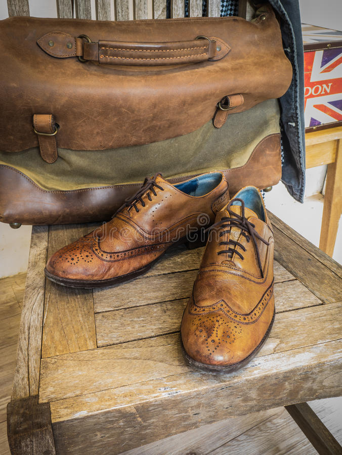 Vintage Wingtip Leather Shoes royalty free stock image