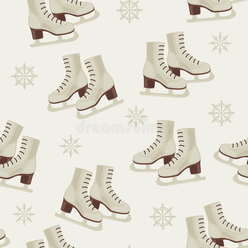 Download Vintage Winter Wallpaper With Skates Stock Vector