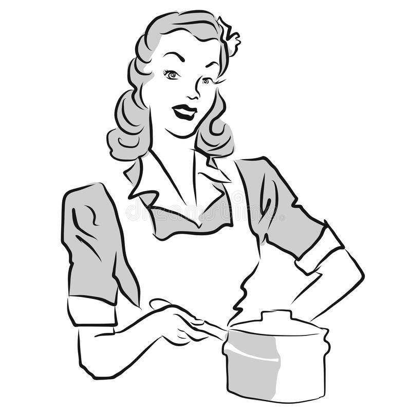 Vintage Woman with cooking pot royalty free illustration