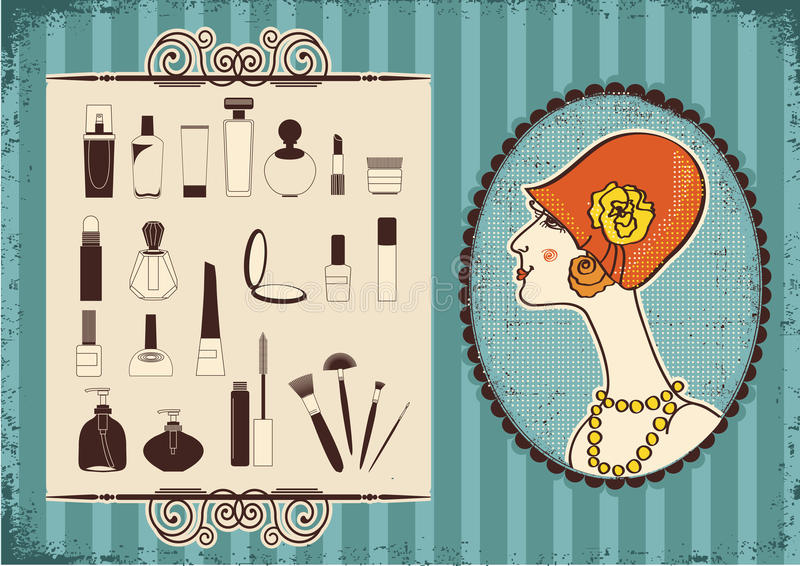 Vintage woman and cosmetics. Vintage woman face in fashion hat and cosmetics background